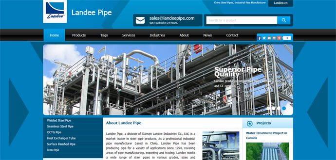 钢管外贸网站建设案例: 厦门兰地钢管有限公司