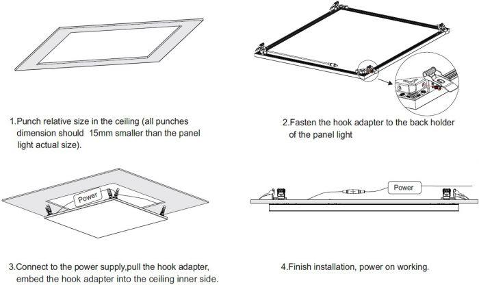 Frameless 2x2 Led Panel Lights 600x600 Led Flat Panel