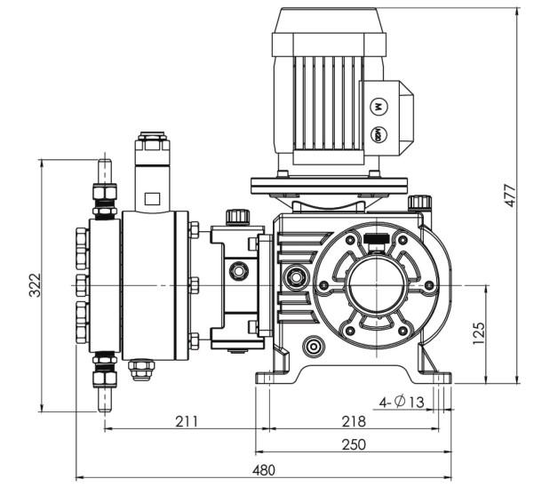 fluid-metering-pump-ptfe-diaphragm-10-480lph-10-200bar-0-75kw-drawing-1
