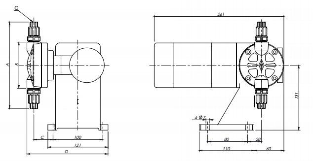 JBB series mechanical diaphragm metering pump drawing
