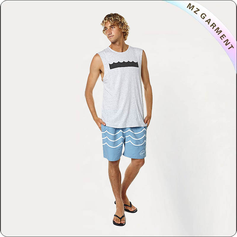 Men Racked Pattern Beach Shorts