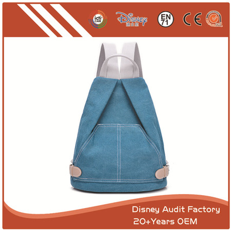 Blue Canvas Backpack, Custom Design, Soft and Skin-friendly