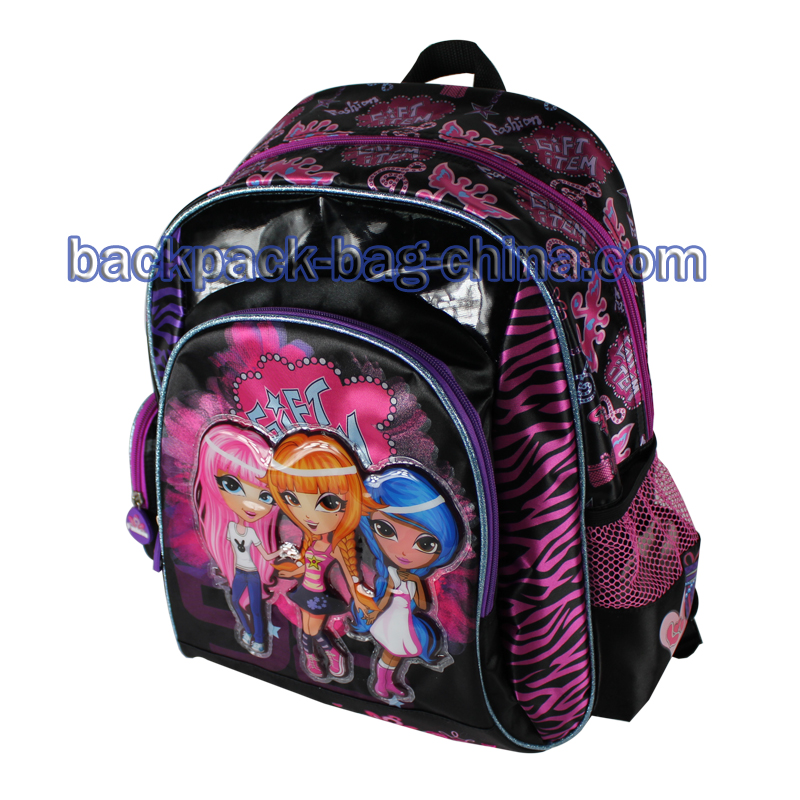 Three Girls Print School Bookbag