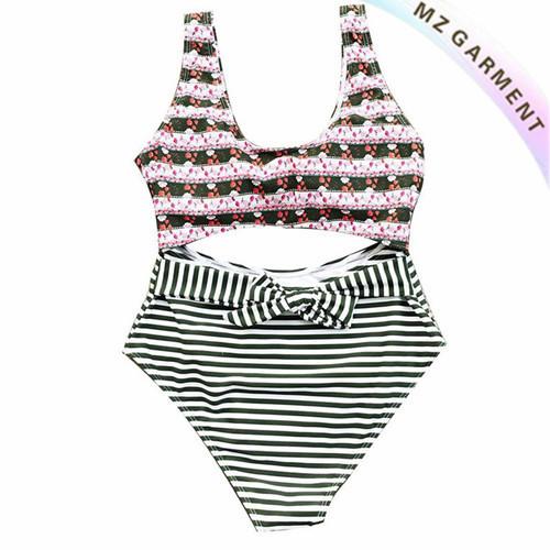 Cropped Bikini, Stripe Bottom, 80% Nylon, 20% Elastane, Custom