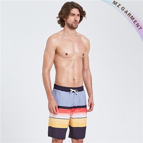 Striped Board Shorts, Irregular Stripe, Elastic Waist, Colorful