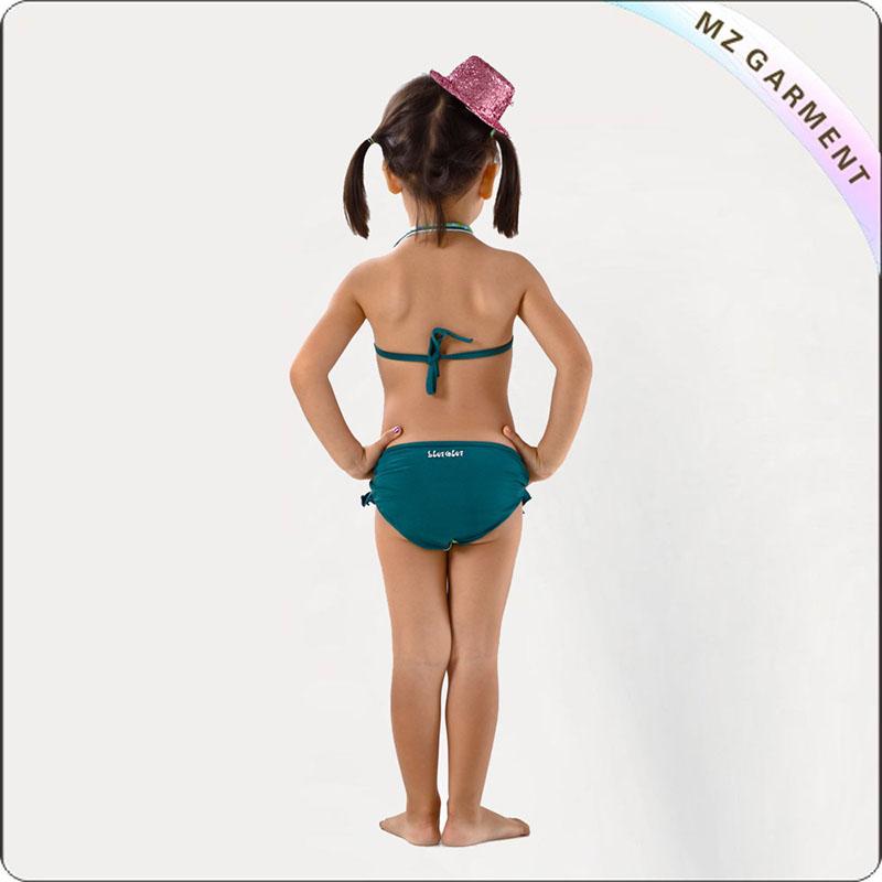 Kids Dark Green Bikini with Floral Printed