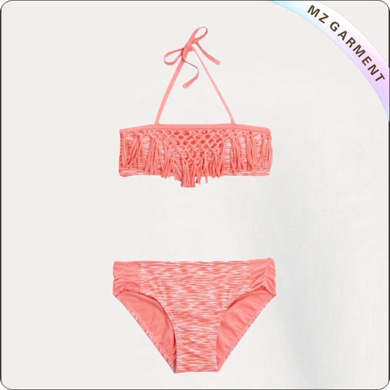 Kids Orange Lace Bikini