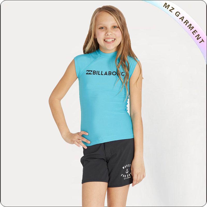 Girls' Turquoise Short Sleeve Sun Protective Wear