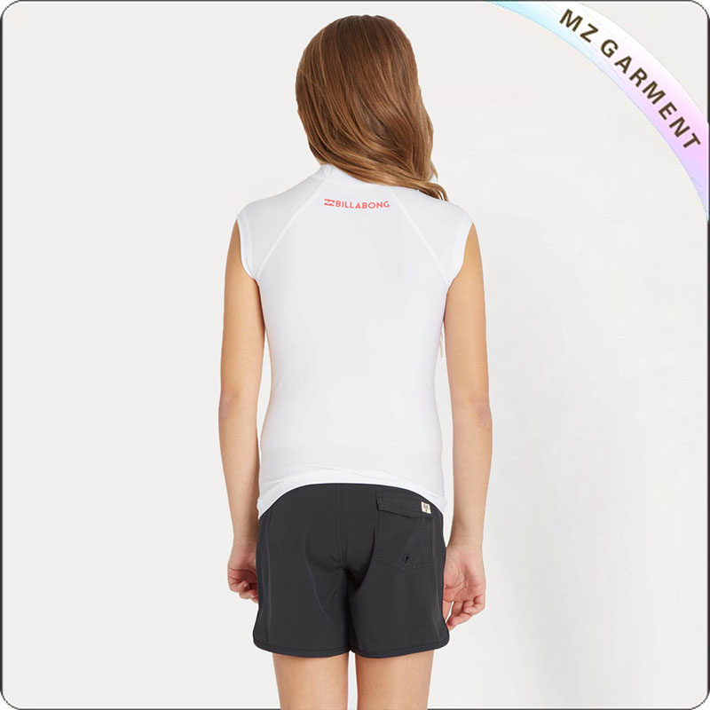 Girls' White Short Sleeve Sun Protective Wear