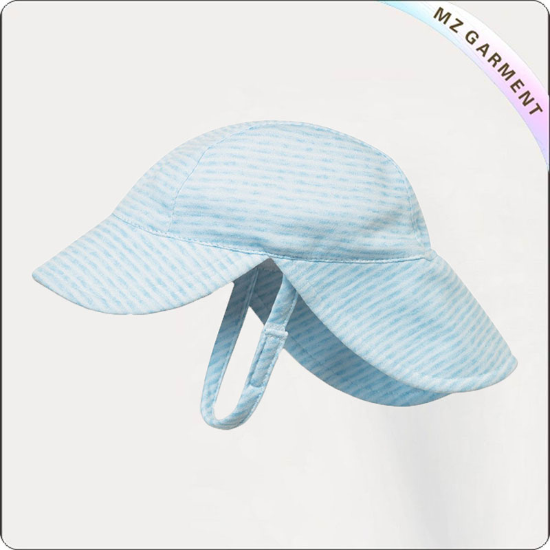 Baby Blue Striped Face Protective Sunhat