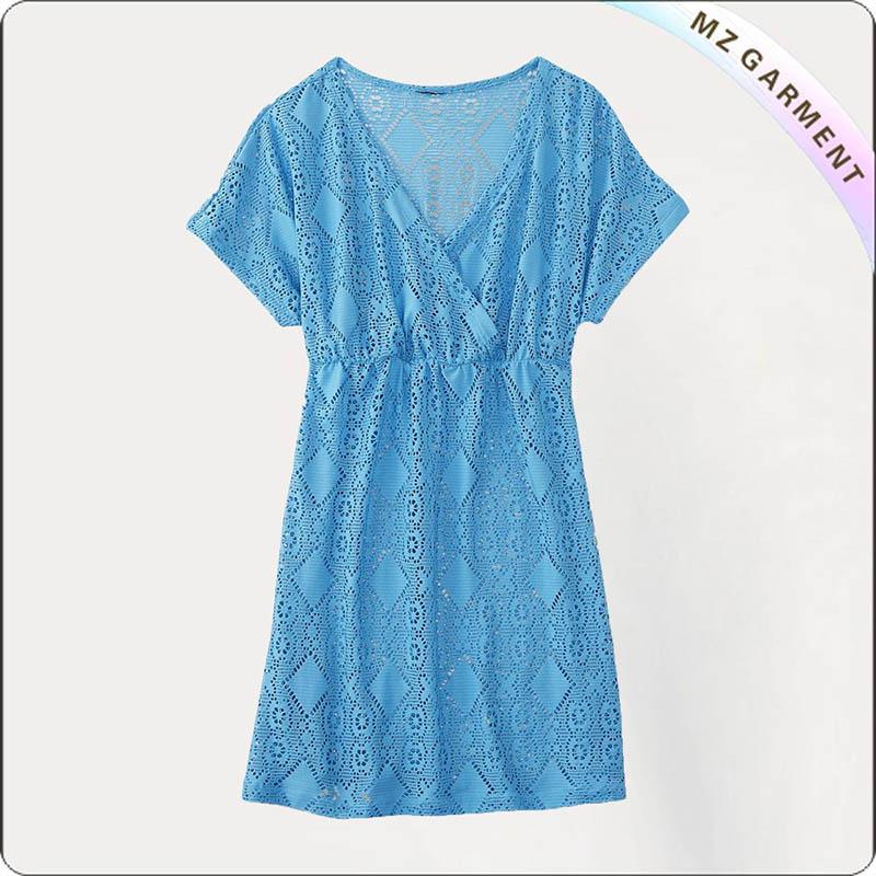 Blue Lace Cut Cover Up Dress