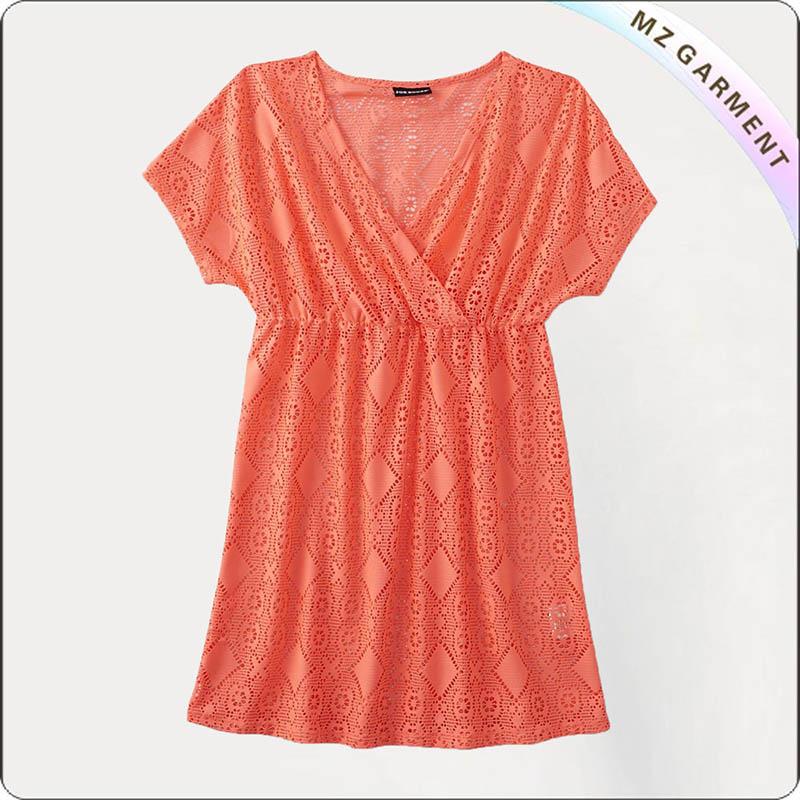 Orange Lace Cut Cover Up Dress