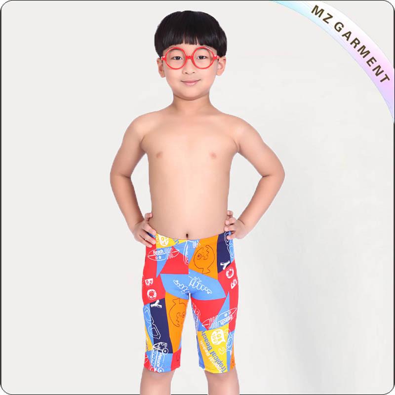 Boys' Printed Fish Long Swimming Pants