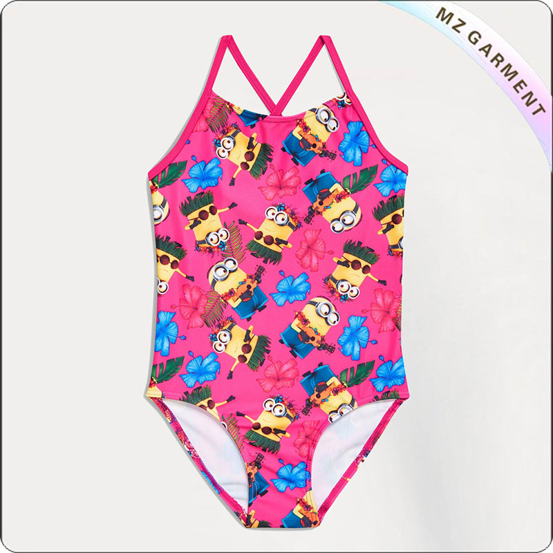 Kids Pink Minions Swimsuit