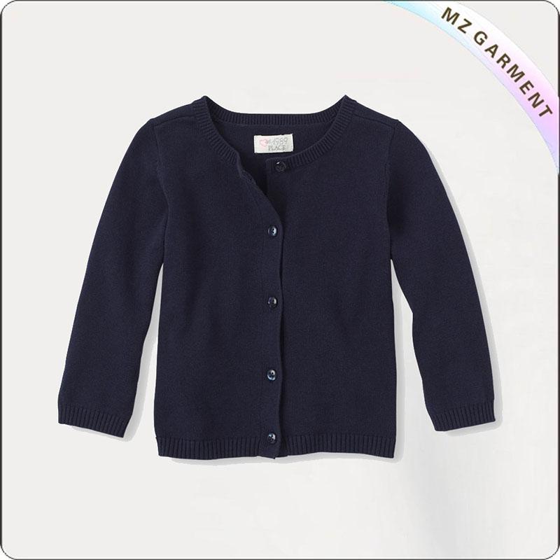 Black Round Collar Cardigan