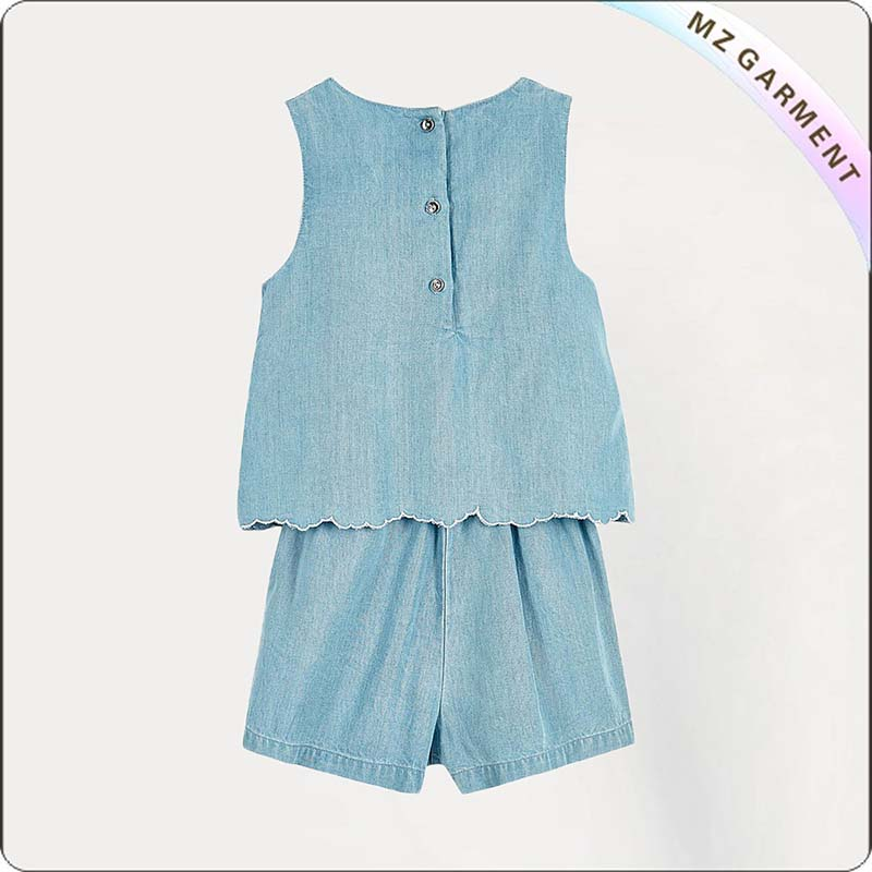 Girls Mini Blue Denim Snapsuit