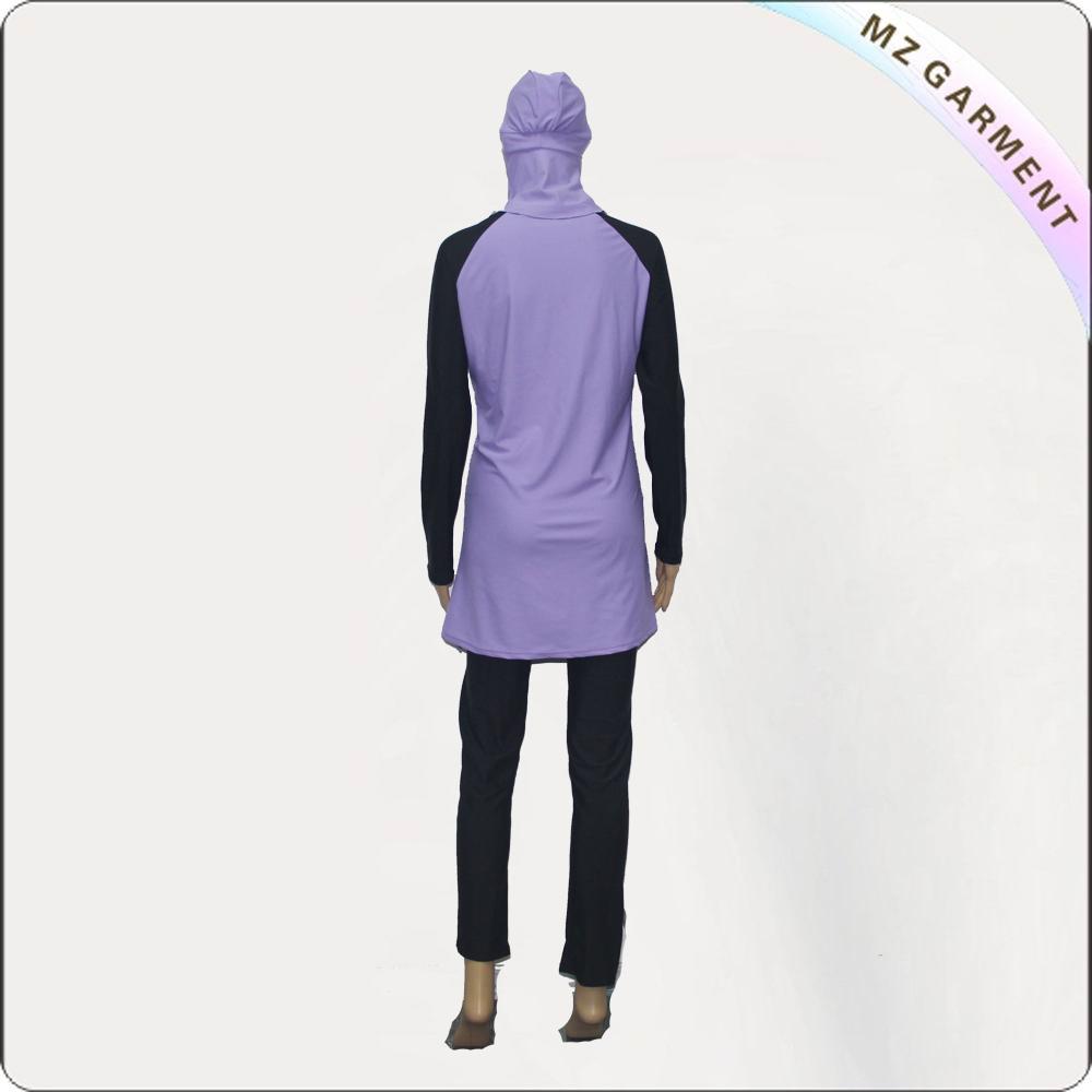 Black & Purple Long Sleeve Muslim Swimwear