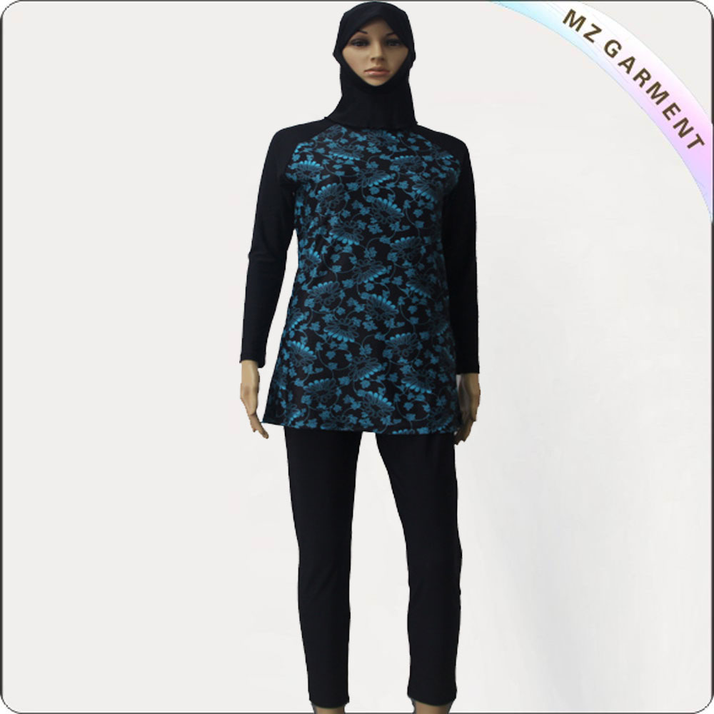 Black Long Sleeve Muslim Swimwear with Green Printing