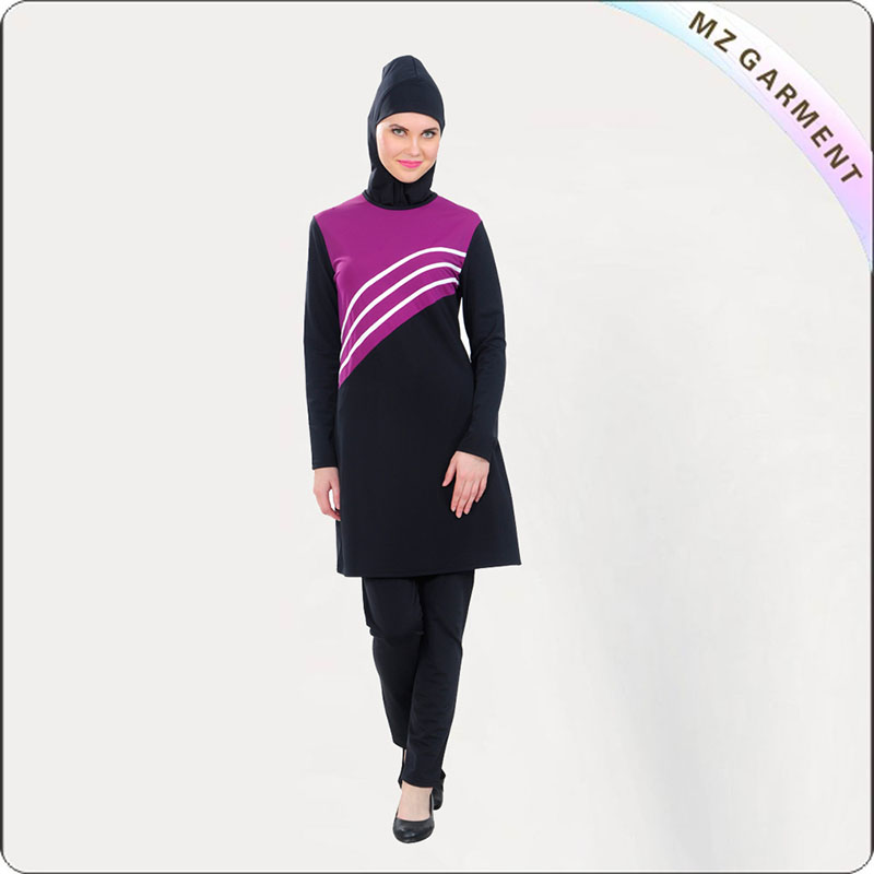 Purple Striped Muslim Swimwear