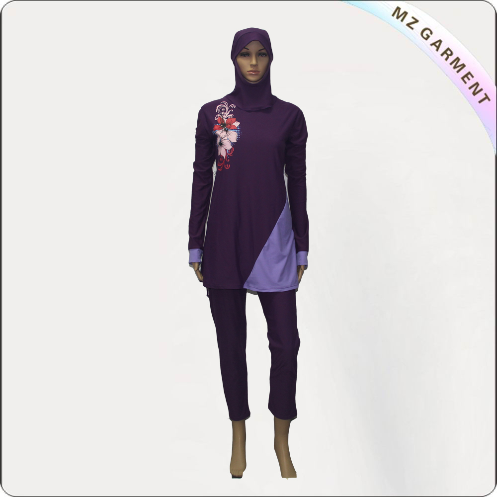 Rose & Purple Long Sleeve Muslim Swimwear