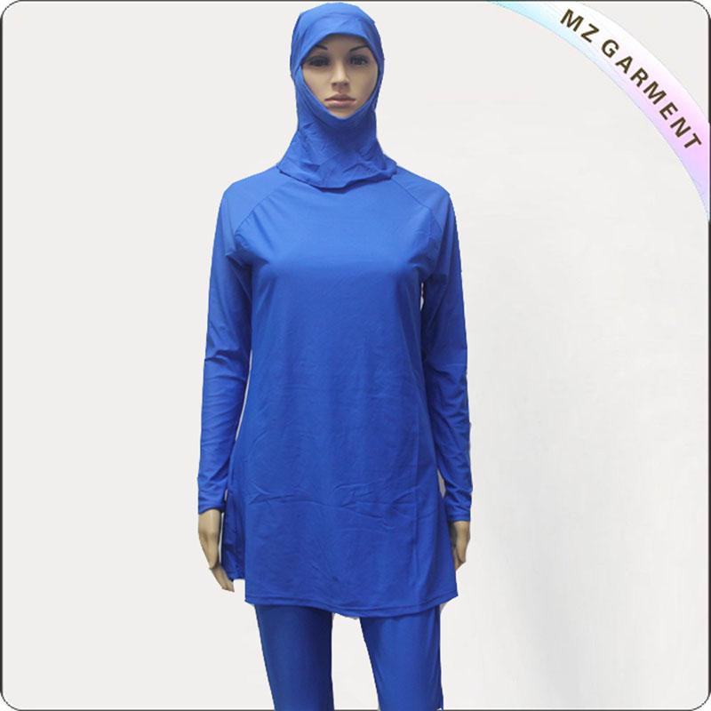 Women Dark Blue Muslim Swimwear