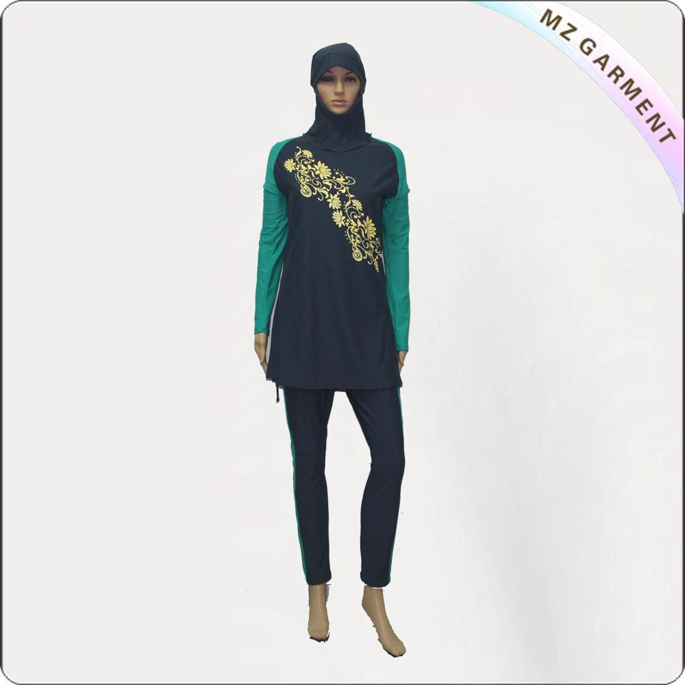 Yellow & Black Long Sleeve Muslim Swimwear