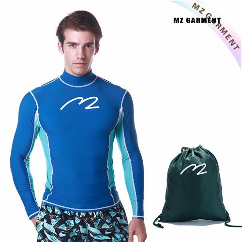 Men Long Sleeve Rash Vest, Euro Size, UPF 50+, Blue