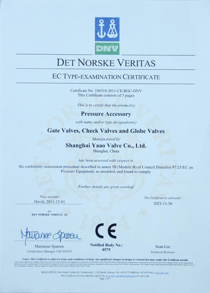 Yaao Valve EC Type Examination Certificate